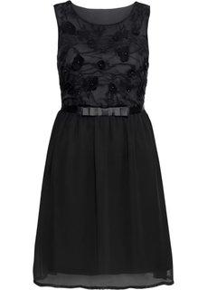 Платье вечернее с кружевной аппликацией, укороченный покрой (черный) Bonprix