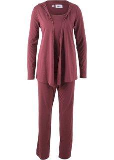 Мода для беременных: спортивные костюм из куртки, брюк и топа (3 изд.) (кленово-красный) Bonprix