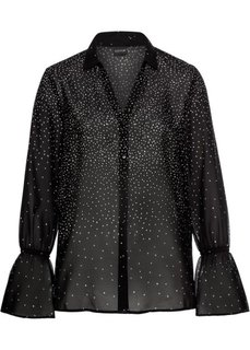 Блузка с рукавами-воланами (черный/белый в горошек) Bonprix