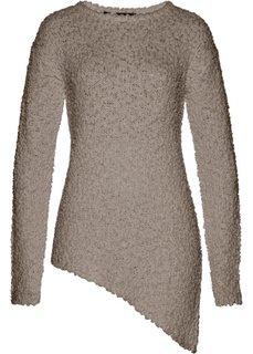 Пуловер с асимметричным нижним краем (серо-коричневый) Bonprix