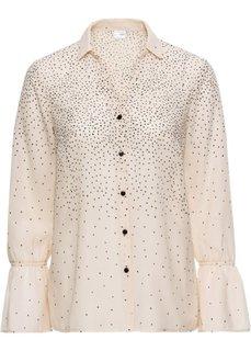 Блузка с рукавами-воланами (каменно-бежевый/черный в горошек) Bonprix
