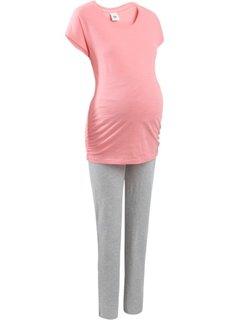 Пижама для будущих мам (розовый/серый меланж) Bonprix