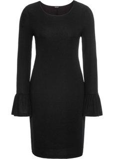 Платье с воланами, дизайн в полоску (черный) Bonprix