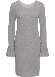 Платье с воланами, дизайн в полоску (светло-серый меланж) Bonprix