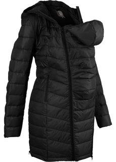 Пальто стеганое с карманом-вставкой для малыша (черный) Bonprix