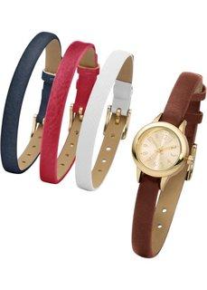 Часы + 4 браслета (коричневый/белый/темно-красный/темно-синий) Bonprix
