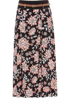 Длинная юбка (черный в цветочек) Bonprix