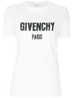 рваная футболка с принтом-логотипом Givenchy