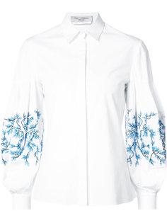 рубашка с объемными рукавами и вышивкой  Carolina Herrera