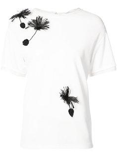 футболка с цветочной вышивкой  Carolina Herrera