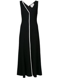 платье с V-образным вырезом и разрезом  Carolina Herrera