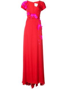 платье с V-образным вырезом и вышивкой  Carolina Herrera