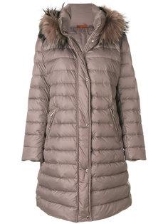 пальто с меховой отделкой на капюшоне  Baldinini