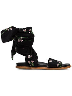 floral embroidered flat wrap sandals Marquesalmeida