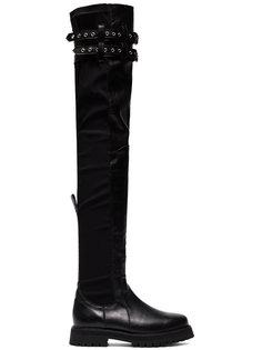 thigh high buckled army boots Marquesalmeida