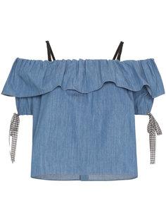 джинсовый топ с открытыми плечами  Miu Miu