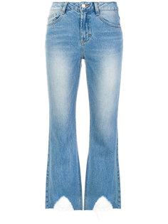 укороченные джинсы с потертой отделкой Sjyp