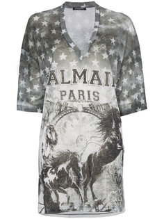 футболка с логотипом и принтом лошади Balmain