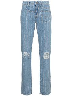 джинсы с отделкой кристаллами  Filles A Papa