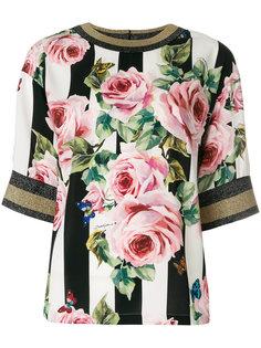 полосатая блузка с цветочным принтом Dolce & Gabbana