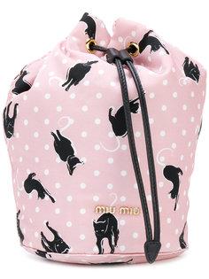 сумка на шнурке с принтом котов Miu Miu