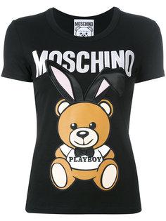 футболка с принтом медведя Playboy Moschino