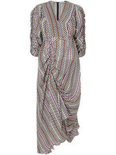 присборенное платье в клетку  Preen By Thornton Bregazzi