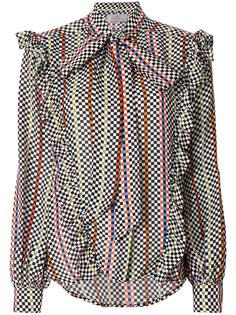 блузка в шахматную клетку с бантом  Preen By Thornton Bregazzi