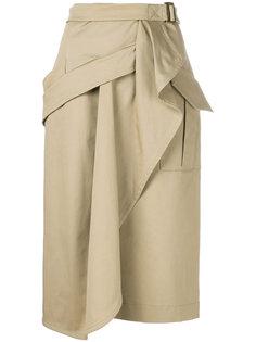 драпированная юбка с запахом  Alberta Ferretti
