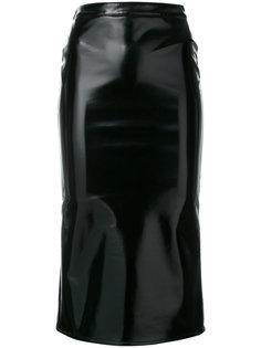 вощеная юбка прямого кроя McQ Alexander McQueen