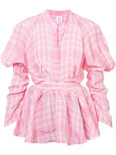 жатая блузка с объемными рукавами в клетку  Rosie Assoulin