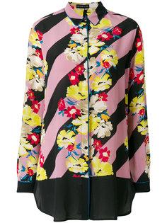 полосатая рубашка с цветочным принтом Etro