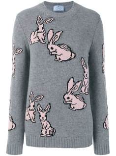 "свитер вязки ""интарсия"" с кроликами Prada"