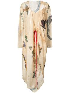 платье с запахом и принтом птиц Vionnet