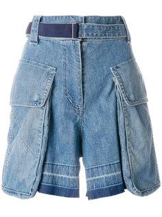 джинсовые шорты с накладными карманами Sacai