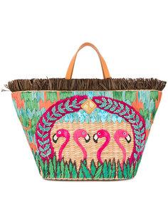 сумка-тоут с вышивкой фламинго Aranaz