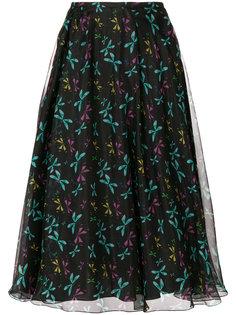 пышная юбка с принтом бабочек  Rochas