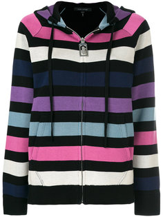 striped zip front hoodie Marc Jacobs