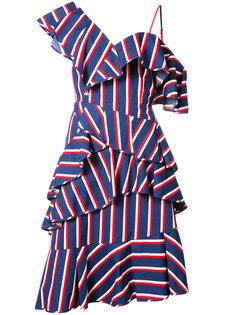 платье в полоску с оборками Alice+Olivia