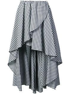 асимметричная клетчатая юбка с оборками Caroline Constas