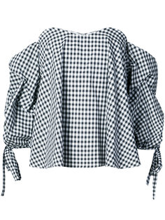 блузка в клетку с открытыми плечами Caroline Constas
