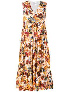 платье макси с запахом и цветочным принтом  MSGM