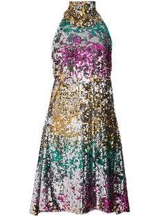 платье из пайеток с вырезом-халтер Halpern