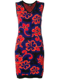 платье без рукавов с V-образным вырезом и цветочным принтом Dsquared2
