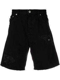 джинсовые шорты с прорванными декоративными деталями Just Cavalli