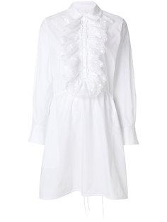 платье-рубашка с вышивкой и оборкой  Chloé