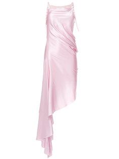 асимметричное платье с ремешками с пряжками Marquesalmeida