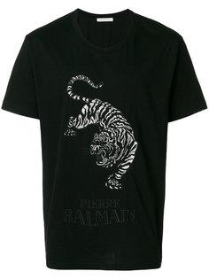 футболка с вышитым тигром Pierre Balmain
