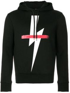 lightning bolt drawstring hoodie Neil Barrett
