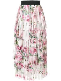 юбка миди с цветочным принтом и завязкой Dolce & Gabbana